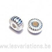 Perle en forme de roue - rayée - 6mm - en argent 925 x2