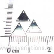 Plaque triangulaire 1cm 3 trous - en argent 925