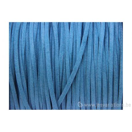 Cordon en daim - 1,4 mm / 3 mm - bleu turquoise - par 1 mètre