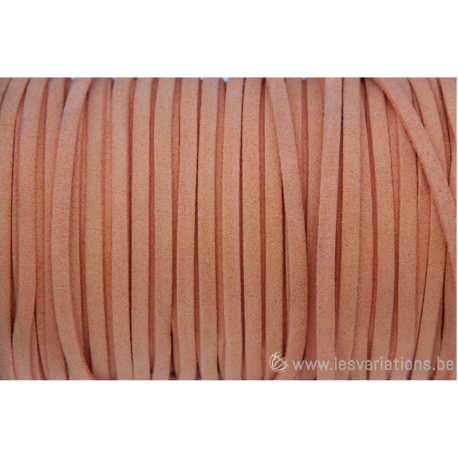 Cordon en daim - 1,4 mm / 3 mm - orange - par 1 mètre