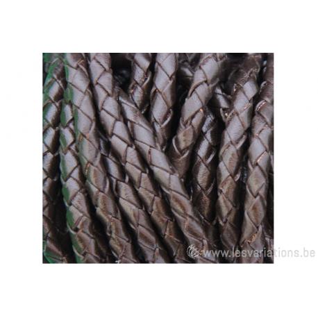 Cordon cuir tressé rond - 3,2 mm - marron - par 1 mètre