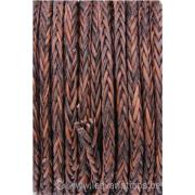 Cordon cuir tressé rond - 4 mm - brun - par 1 mètre