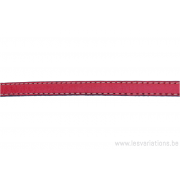 Cordon cuir plat - 10 mm - rouge - par 25 cm