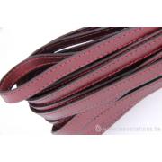 Cordon cuir plat - 10 mm - bordeaux - par 25 cm