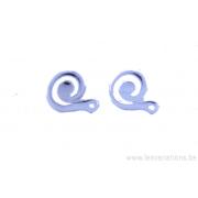 attache boucles d'oreille - décor spiral - en argent 925 - une paire
