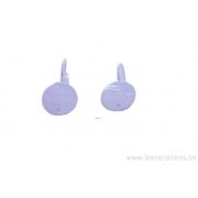 Crochet d'attache boucles d'oreille - plaque ronde - plaqué 300 microns- une paire