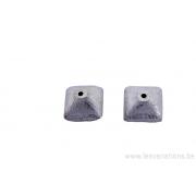 Perle en carrée forme de toupie en argent brossé x 5