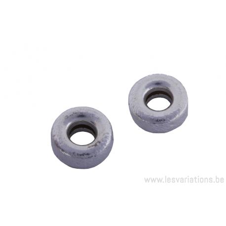 Perle ronde en forme de roue en argent Brossé x 2