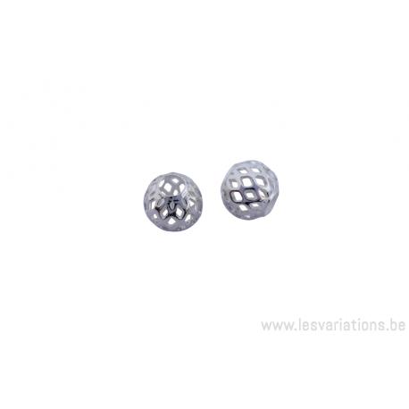 Boule ajourée - 8 mm en plaqué argent épais 300 microns x 5
