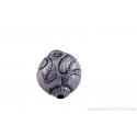 Perle ronde en métal argent d'Inde - dessin de feuille stylisée x 2