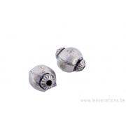 Perle ronde en métal argent d'Inde - unie une ligne de haut en bas 2 cabochons au niveau des trous x 2