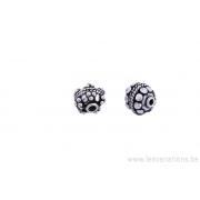Perle ronde en métal argent d'Inde x 10