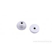 Coupole perle demi-ronde 10mm - métal argenté brossé x2