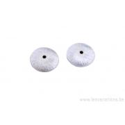 Coupole perle ronde 12mm - métal argenté brossé x2