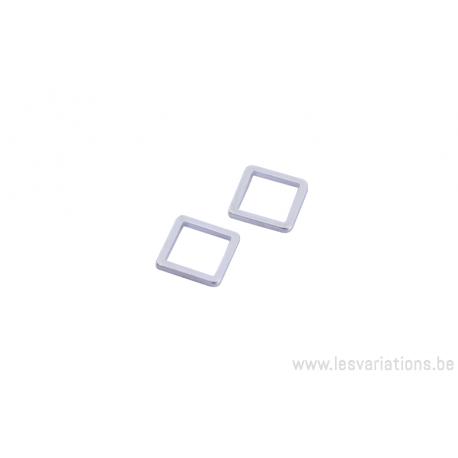 Intermédiaire carré en fil de 8mm - argent 300 microns x5