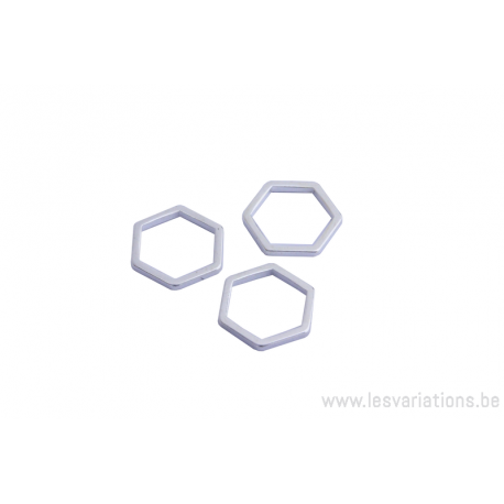 Intermédiaire hexagonal en fil de 10 mm - argent 300 microns x5