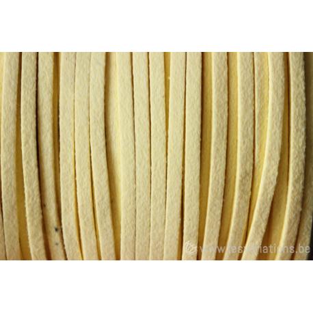 Cordon en daim - 1,4 mm / 3 mm - jaune - par 1 mètre