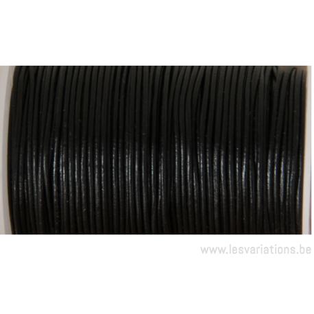 Cordon cuir rond - 1 mm - noir - par 1 mètre