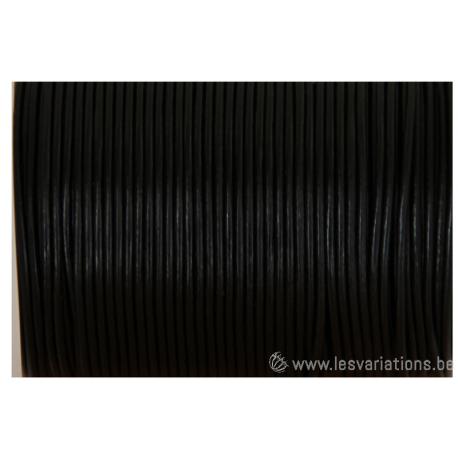 Cordon cuir rond - 1,5 mm - noir - par 1 mètre