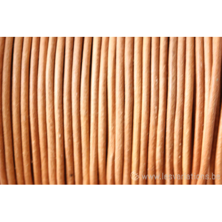 Cordon cuir rond - 2 mm - naturel - par 1 mètre