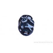 Perle en verre rectangulaire - noir dessin argenté incrusté