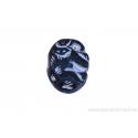 Perle en verre carrée - noir dessin argenté incrusté