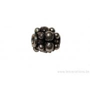 Perle ronde en métal argent d'Inde - petites boules sur toute la surface x 10