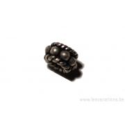 Perle ronde en forme de roue - métal argent d'Inde x20
