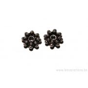 Perle ronde en forme de roue - métal argent d'Inde - 3 niveaux de lignes de boules x20