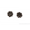 Perle ronde en forme de roue - métal argent d'Inde - une ligne de boule x50
