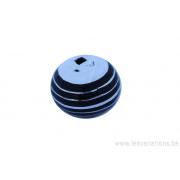 Perle ronde Touareg - 16 mm - cerclé de bois d'ébène - argent 925