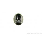 Perle en verre d'artisan - cylindre - noir - vague beige