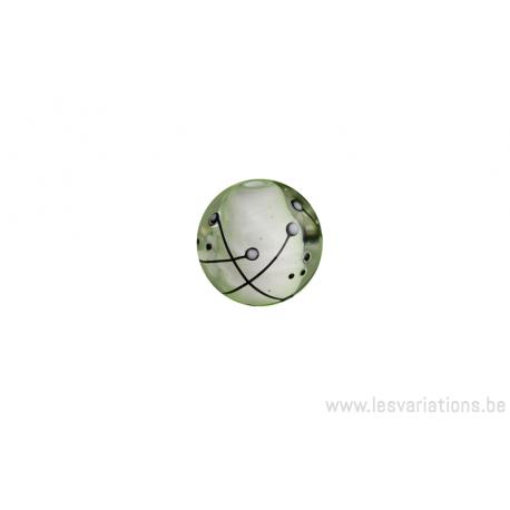 Perle en verre d'artisan - ovale- transparent centre noir