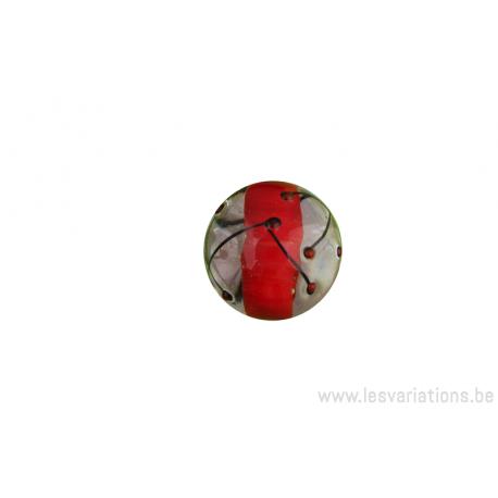 Perle en verre d'artisan - ronde - transparent centre orange -ligne noir