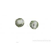 Perle en verre d'artisan - ronde - centre blanc transparent - lignes noire x 2