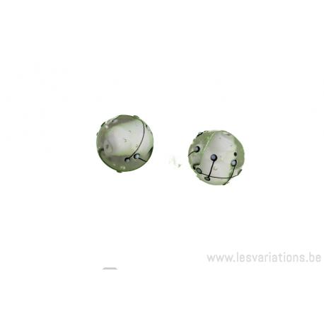 Perle en verre d'artisan - ronde - centre blanc transparente - ligne noire x 2