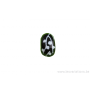 Perle en verre d'artisan - roue - noir - feuilles blanches
