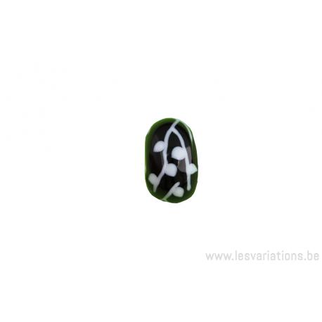 Perle en verre d'artisan - roue - noir feuille blanche
