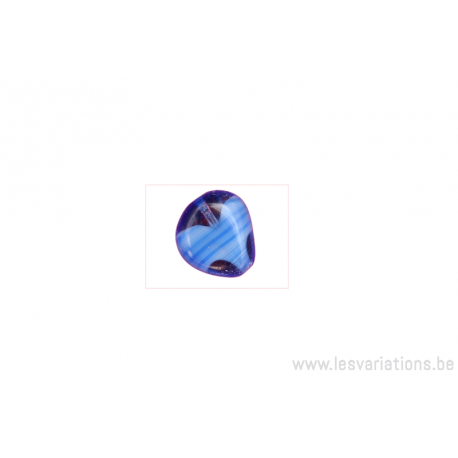 Perle en verre en forme de coeur - bleu moyen