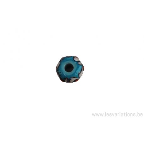 Perle en verre d'artisan - bleu turquoise dessin ivoire pois orange