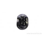 Perle en verre d'artisan - ovale plate - noir - feuille d'argent