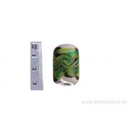 Perle en verre d'artisan - cylindre- blanc - différents verts