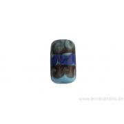 Perle en verre d'artisan - cylindre - bleu - différents verts / bleus