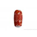 Perle en verre d'artisan - cylindre - blanc vague orange