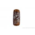 Perle en verre d'artisan - cylindre - jaune moutarde vague blanche / rouge