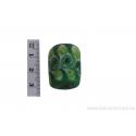 Perle en verre d'artisan - cylindre - vert feuille verte et blanche