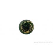 Perle en verre d'artisan - ronde - vert feuille d'argent