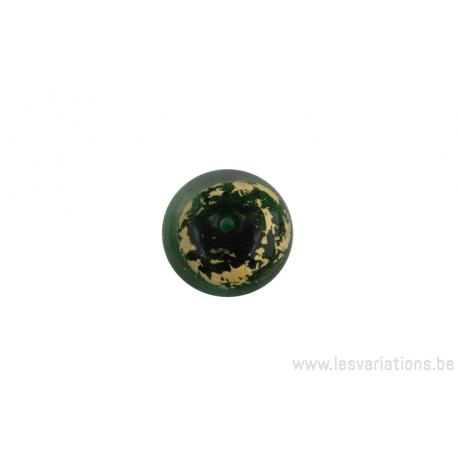 Perle en verre d'artisan - cylindre - vert feuille d'argent