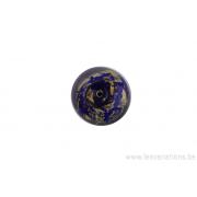 Perle en verre d'artisan - ronde - bleu roi feuille d'argent