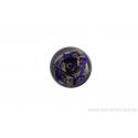 Perle en verre d'artisan - cylindre - noir feuille d'argent